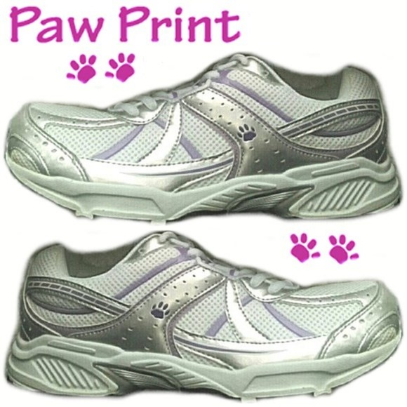 11cc5bf0212ab2 NEW White Sneakers Athletic Paw Print dog cat 11.5 NWT
